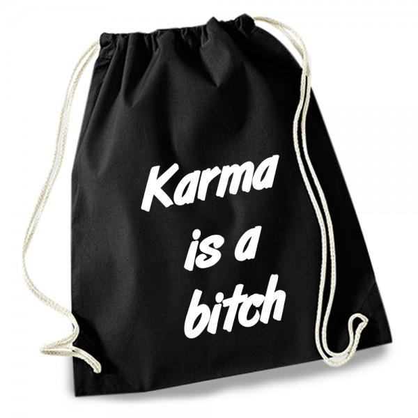 Turnbeutel / Stoff-Rucksack »karma is a bitch«
